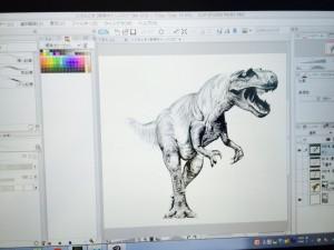 恐竜のペン入れ