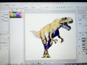 恐竜の色塗り